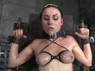 Pretty pallid Veruca James gets shackled, throatboarded and downright ruined by 2 phat cocks!