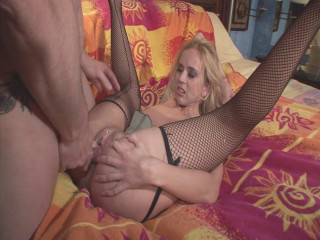 Blonde slut takes toy and hard cock