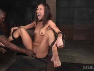 Asian Fuck Doll Kalina Ryu Shackled Down Blindfolded - HD 720p
