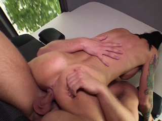 Whorey tatted German MILF gets picked up, fucked and spunked on in the bus