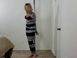 Pole Bound and Helpless Mummy!