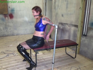 Bound in steel handcuffs for made orgasms