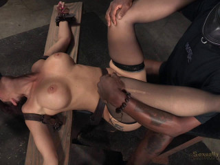 Grand finale of Syren de Mer BaRS's showcase with penalizing Big black cock deepthroat and raunchy restrain bondage sex!