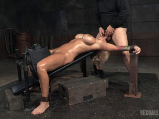 Giant titted towheaded Alyssa Lynn confined on a sybian saddle and facefucked by BBC, numerous orgasms!