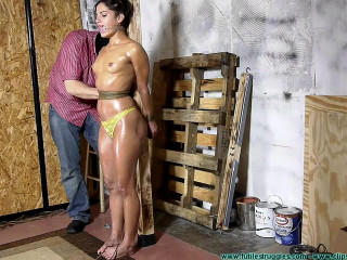Chi Chi Medina Oiled, Crotch Roped Then Crotch Taped - Part 3