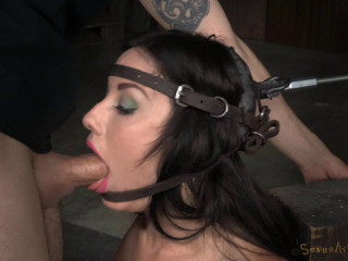 Jennifer White shackled on sybian and bound