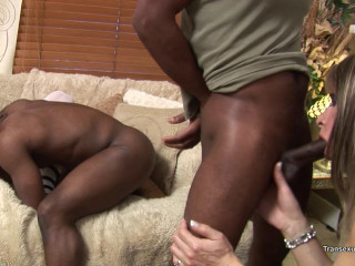 Trio white ladyboys with 2 black masculines