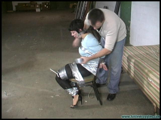 Alison In Sweater And Hotpants Ziptied And Duct Taped