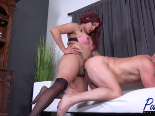 Scarlett and her meaty man-meat impale his ass