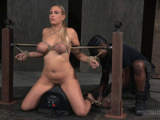 Hasty paced Angel Allwood Rafters demonstrate with breast restrain bondage