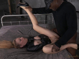 Emma Haize is straightjacketed and fuckpuppet penetrated rock-hard by 2 immense cocks
