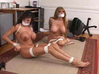 Corded and Ball-gagged -Office Trouble Part 3 - Darla Crane and Ariella Ferrera