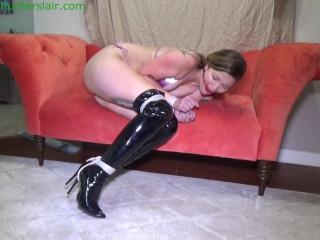 Balltied hairtied in her shiny bikini and boots