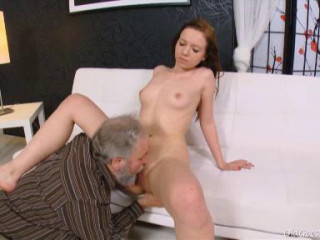 This elderly man is fortunate enough to have a youthfull chick stripping in front of him.