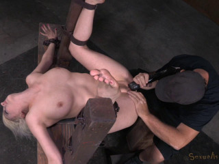 Pale skinned huge-boobed blond Virgin Torn restrained in ravage me stance and used rock-hard by ample dick!