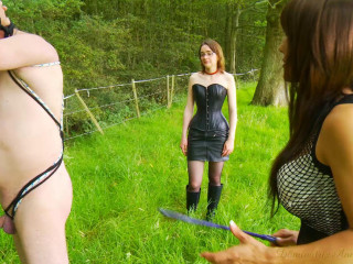 2 mistresses torture the slaves in the forest