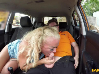 Sloppy titwank and backseat blowjob