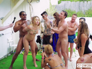 Selvaggia - Gorgeous Russian slave girl gets tortured in group BDSM session