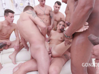 15-man gangbang with double fuck for hot Timea Bella