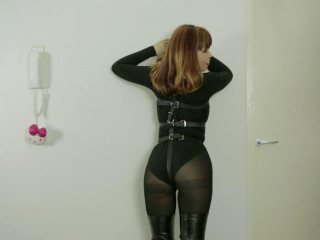 Laced In Armbinder & Rubber hood On Screen
