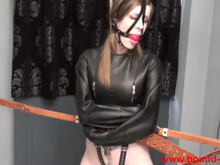 Cobie in leather straitjacket and chastity belt (2016)