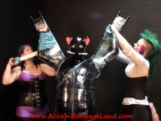 Layered Bondage Mummification - Rubber Kitty Handjob Threesome