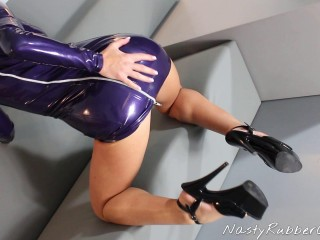 Rubber Masturbation, Finger, Dildo, Female Mask Dressing Pt 1