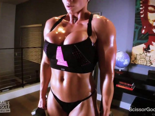 Muscley queen ecstasy works out and gets perspiring