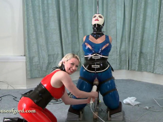 Tight bondage, domination and torture for hot slut in latex