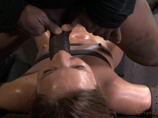 Maddy O'Reilly gets restricted and throatboarded by 2 huge cocks, brutal summoning deepthroat!