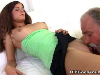 Alyona is a sexy youthful female and she is sitting on the lap of her elderly sexy dude