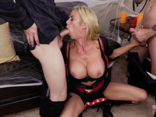 Alexis Fawx Pulverizes Her Son-in-law And His Pal On Halloween Night