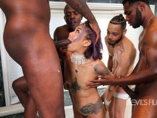 Asian Babe Gangbanged By Huge Black Dicks