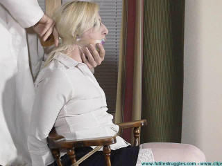 Olivia Panty Gagged Breast Bound and Bound in a 1 Leg Strappado