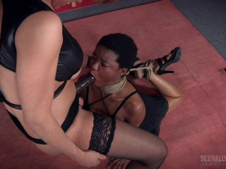 Kahlista face fucked by couple in strenuous bondage