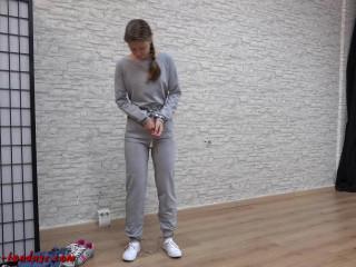 I love Bondage - Prisoner in handcuffs and legirons