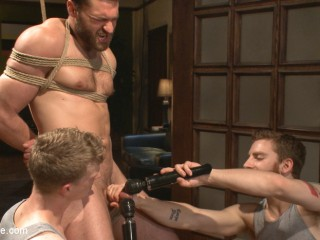 Trussed Abel Archer Ejaculates w/o Even rubbing his cock!