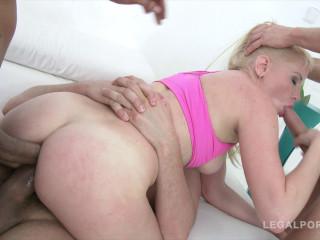 Russian blonde enjoys brutal anal orgy with DP & Dap