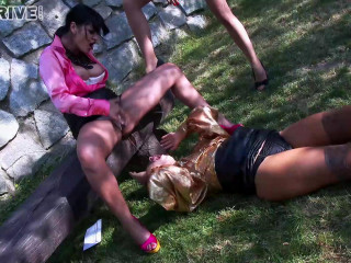 Piss In The Park! Lesbos Fill Their Faces With Piss