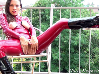 Rubber Masturbation On The Balcony, Vibrator Part One