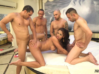Big Ass Shemale In Hard Gangbang With Huge Cocks