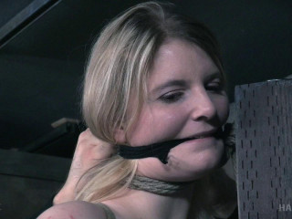 Orgasm from a massager in a tied
