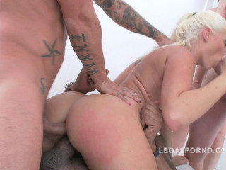 Anal gangbang for blond slut with 10 cocks