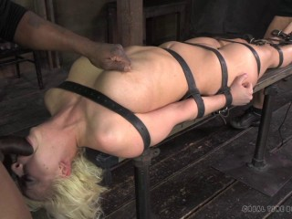 Real Time Bondage - Virgin Ripped belted down, planked and jammed total of cock! - Mar 11, 2014