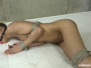 Tied up and ball ball-gagged while fake penis nailed
