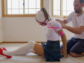 Schoolgirl Hooded Gagged and Hogtied