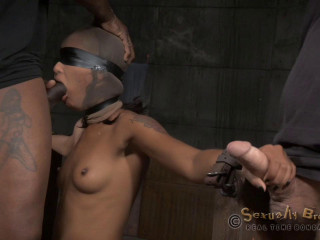 Deepthroat slave training as Skin is bent over bound