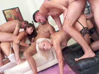 Dual Addicted Gangbang 5 on 2