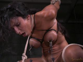 Exotic Sadie Santana strictly restrained in brutal bondage