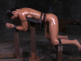 Fit Mummy Wenona belted in rigorous restrain bondage and roughly pulverized with BBC, fierce penalizing deepthroat!